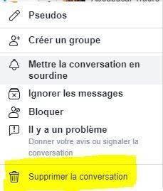 supprimer conversation messenger