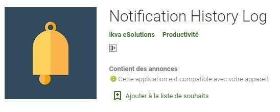 récupérer un message sur whatsapp - Notification History Log