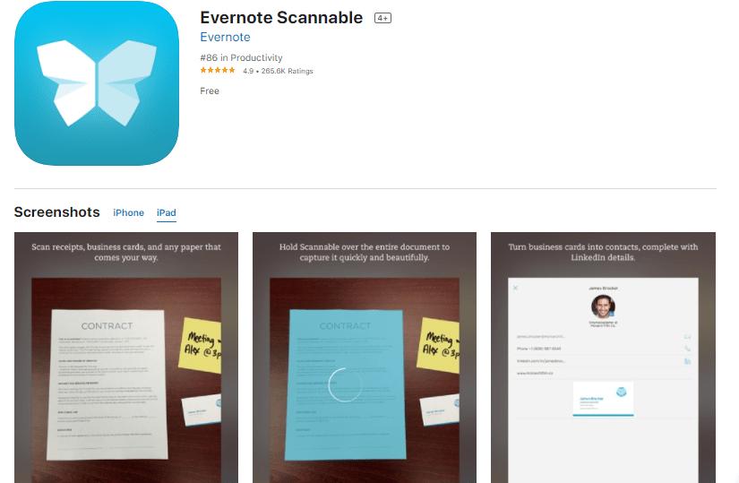 evernote scannable - application de scanner sur iPhone et iPad