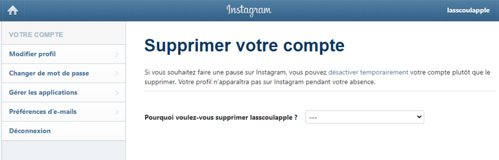 supprimer un compte instagram