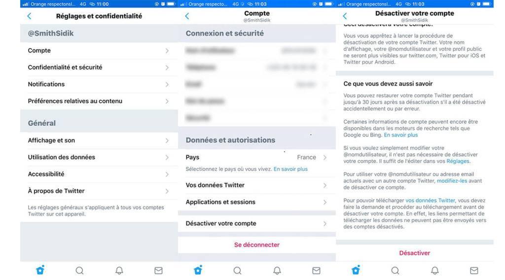 supprimer un compte twitter sur iPhone et Android