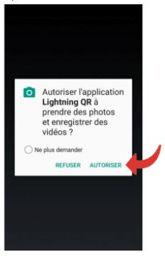 autoriser l'utilisation de la caméra par l'appli