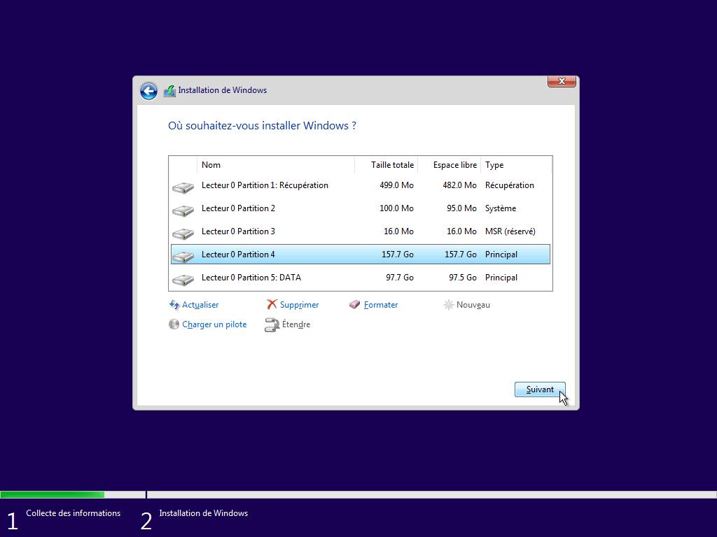 démarrer l'installation de Windows 10