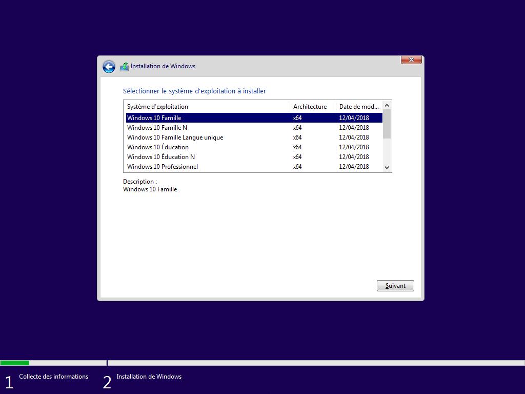Sélectionner l'édition de Windows 10