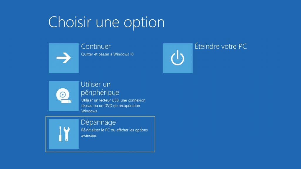 Dépannage Windows 10