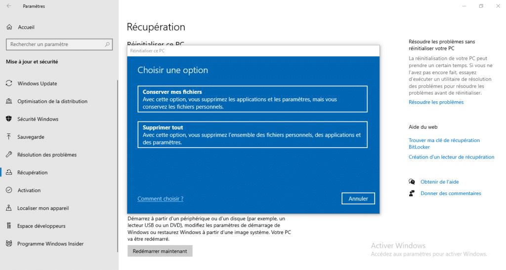 comment réinstaller Windows 10