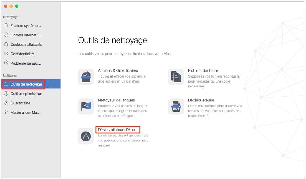 outils de nettoyage sur Mac