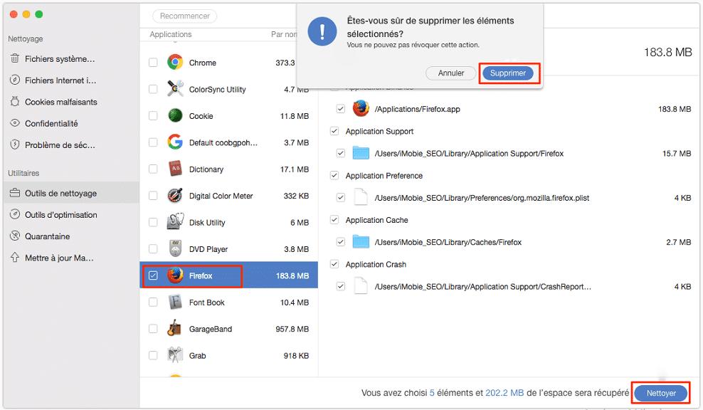 supprimer application sur mac