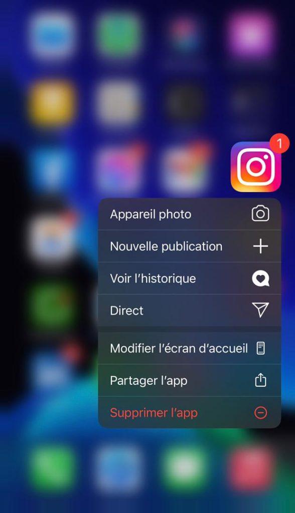 supprimer l'application instagram